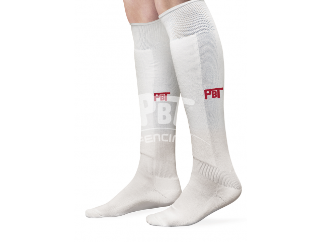 Fencing socks, shin padded PREMIUM with red PBT logo