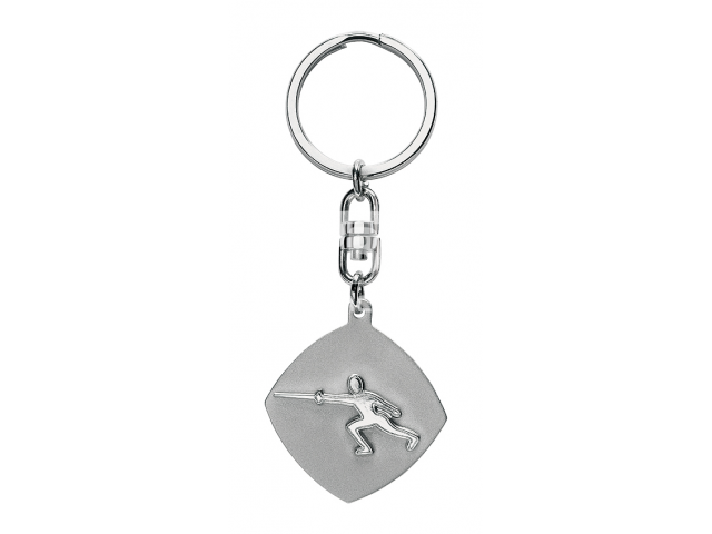 Fencer key chain in silver color